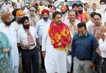 Former Minister Raman Bhalla during 'Panchyat Conference' at Chatha Farm in Jammu.