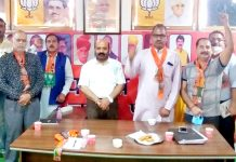 BJP senior leader and former Minister, Bali Bhagat at a party meeting at Muthi-Paloura Mandal on Monday.