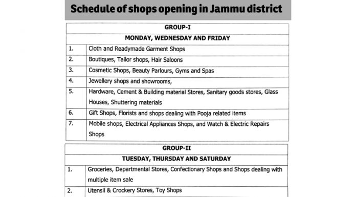Schedule of shops opening in Jammu district
