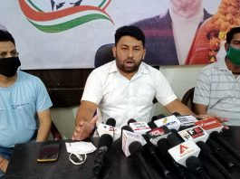 PYC gen secy Ricky Dalhotra addressing press conference in Jammu on Monday. -Excelsior/Rakesh