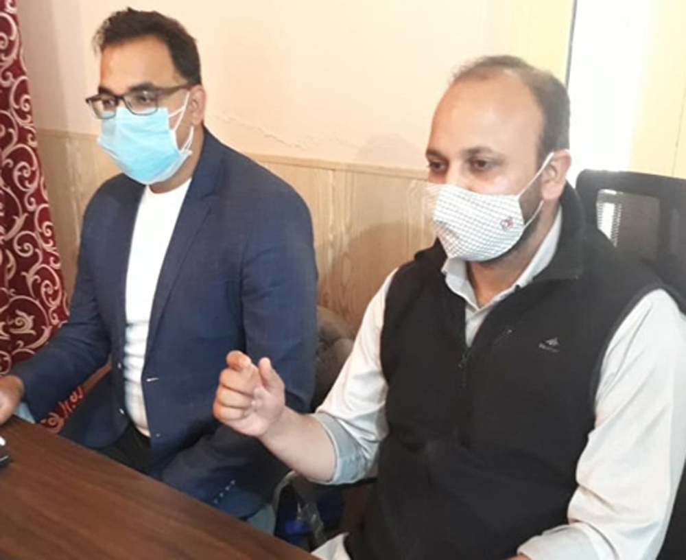 DDC members addressing a press conference at Poonch on Monday.