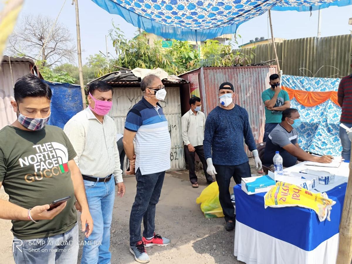 Former Deputy CM, Kavinder Gupta during tour to Raipur Satwari on Monday.