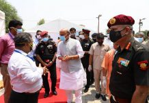 Defence Minister Rajnath Singh visiting Atal Bihari Vajpayee Covid 19 hospital prepared by DRDO at Awadh Shilp Gram in Lucknow on Tuesday. (UNI)
