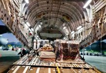 An IAF aircraft carrying oxygen cylinders from United Kingdom arrived in Chennai Airport on Tuesday. (UNI)