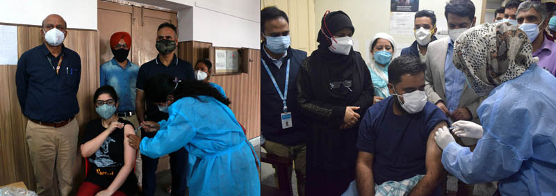 A young girl getting her 1st dose of COVID vaccination in Jammu (left) and a youth at Srinagar (right) on Saturday.