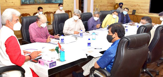 Lieutenant Governor Manoj Sinha reviewing COVID control measures on Tuesday.