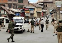 Security forces at Nawabazar in Srinagar after a grenade attack on Friday.— Excelsior/Shakeel