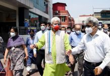 Lieutenant Governor Manoj Sinha during visit to a hospital in Jammu on Friday.