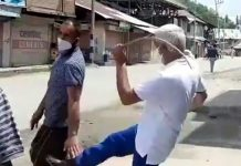 ADC Baramulla Muhammad Ahsan kicking a passer-by on Wednesday.