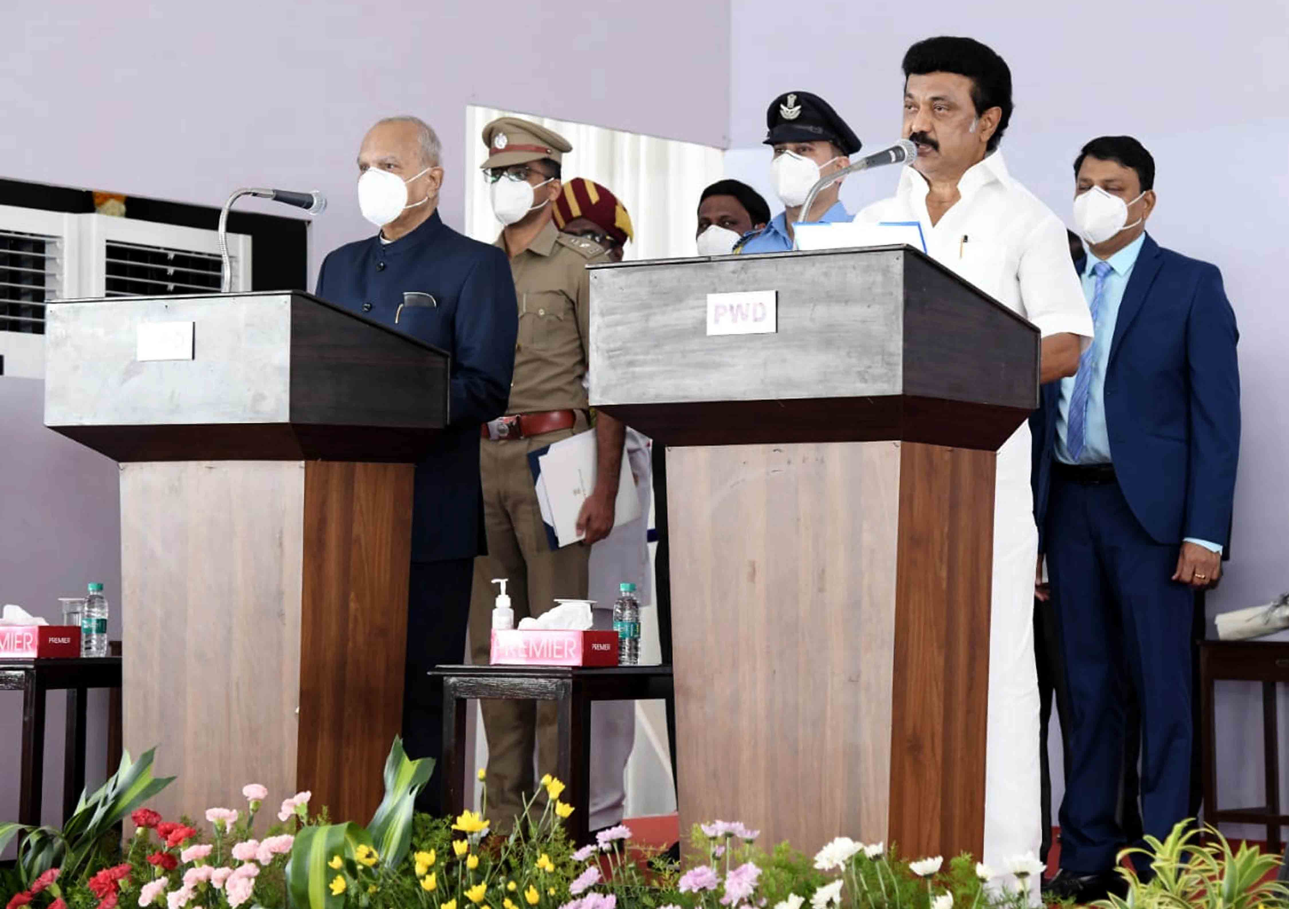 Governor, Banwarilal Purohit administered the oath of office and secrecy to Muthuvel Karunanidhi Stalin as Chief Minister of Tamil Nadu at Raj Bhavan, in Chennai on Friday. (UNI)