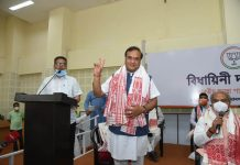 Himanta Biswa Sarma displaying victory sign after being elected as the Legislative Party leader. (UNI)