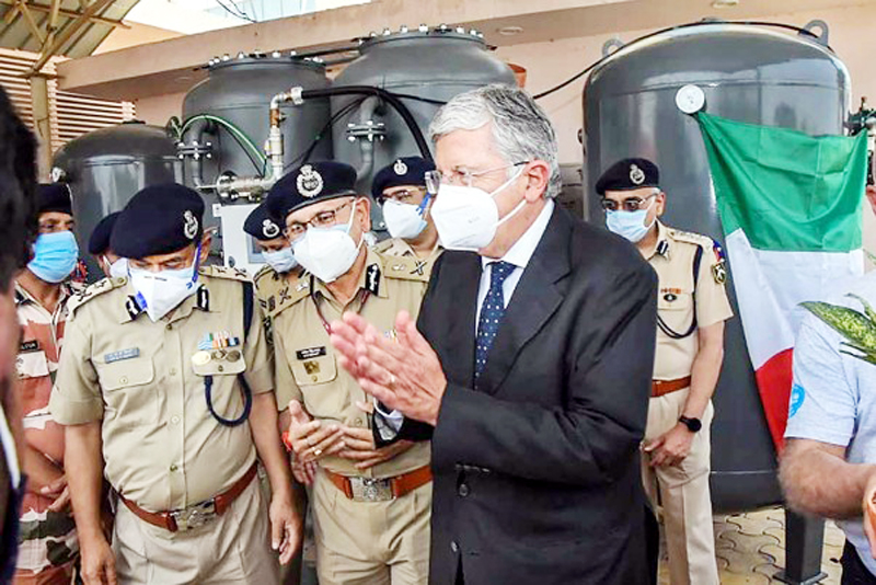 Italian Ambassador to India Vincenzo de Luca during the launch of an oxygen plant at ITBP Referral Hospital, Greater Noida.