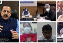 Union Minister Dr Jitendra Singh convening an urgent high level meeting of administration and medical staff, at a short notice, in view of disturbing reports from GMC Jammu, on Wednesday.