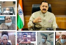 Union Minister Dr Jitendra Singh taking a follow-up of GMC Jammu following yesterday's urgent meeting and also reviewing COVID management in other GMCs, through video conference , on Thursday.