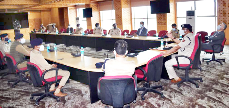 DGP Dilbag Singh chairing a meeting of officers in Srinagar on Tuesday.
