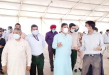 MP, Jugal Kishore Sharma inspecting under construction DRDO Hospital at Jammu on Thursday.