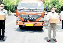 Union Minister Dr Jitendra Singh sending off the second consignment of COVID related material for his Lok Sabha constituency of Udhampur-Kathua-Doda, on Saturday.