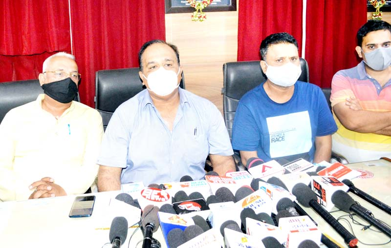 Deepak Gupta, President TFWHNM interacting with media persons at Jammu. -Excelsior/Rakesh