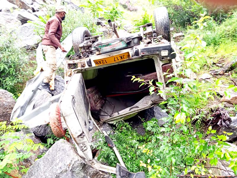 Ill-fated vehicle after accident. -Excelsior/Tilak Raj