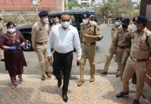 DGP Dilbag Singh during inspection of COVID care facility for police at Jammu.