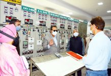 Advisor Baseer Khan during visit to Sub-station in Srinagar.