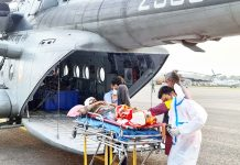 An accident victim being shifted in IAF helicopter from Rajouri to Jammu on Saturday.
