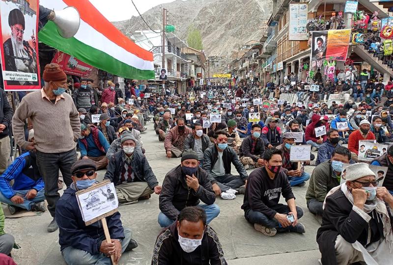 Protestors observing 'International Quds Day' in solidarity with Palestine at Kargil after Friday prayer. -Excelsior/Basharat Ladakhi