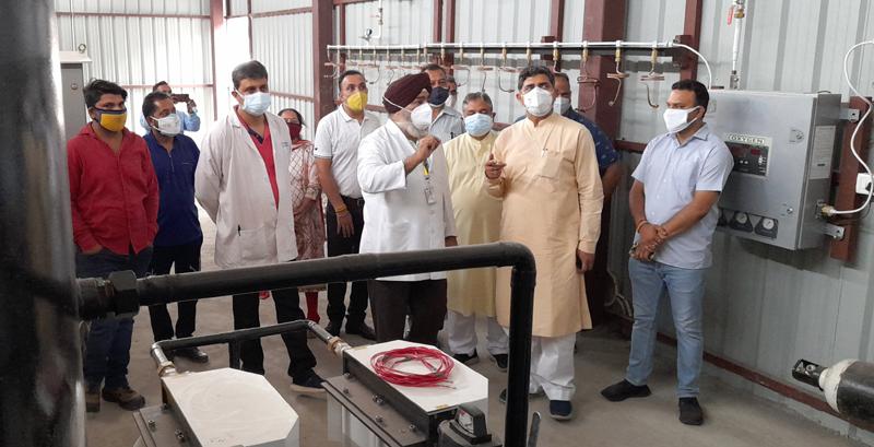 MP Jugal Kishore Sharma and ex-MLA Sat Sharma during their visit to Sarwal hospital on Tuesday.