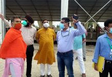 BJP J&K president, Ravinder Raina during visit to DRDO under construction hospital at Bhagwati Nagar on Wednesday.