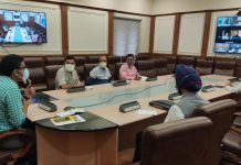 Secretary Tribal Affairs & Incharge COVID-19 mitigation efforts, Dr Shahid Iqbal Choudhary chairing a meeting on Tuesday.