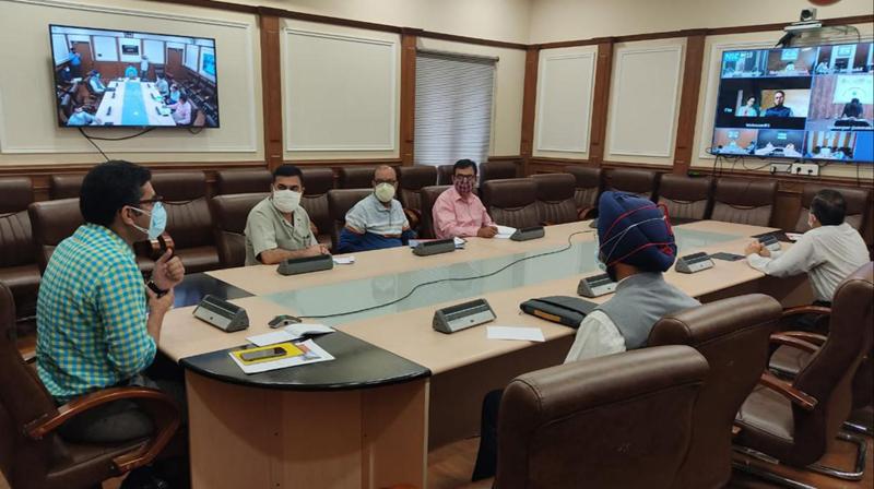 Secretary Tribal Affairs & Incharge COVID-19 mitigation efforts, Dr Shahid Iqbal Choudhary chairing a meeting on Tuesday.