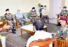 Lt Governor chairing a meeting with senior Army officials of Northern & Western Commands.