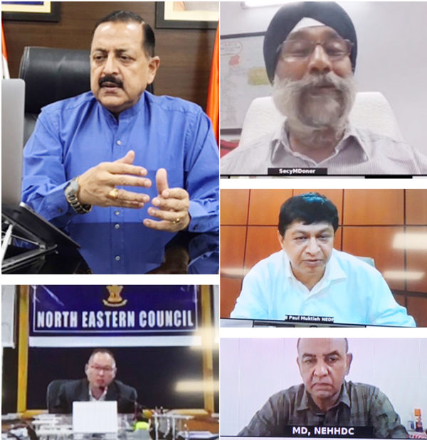 Union Minister Dr Jitendra Singh holding a high level online meeting with senior officials of the Ministry of North East (DoNER) and North Eastern Council (NEC) to review COVID related measures in the North Eastern States at New Delhi on Monday.