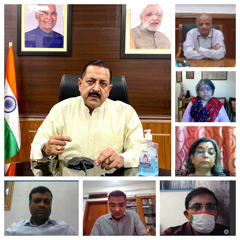 Union Minister Dr Jitendra Singh convening a high level on-line meeting of the officials of Department of Personnel & Training (DoPT), on Tuesday.
