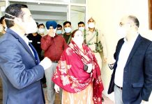 Deputy Commissioner, Bhupinder Kumar during visit to GMC Baramulla on Saturday.
