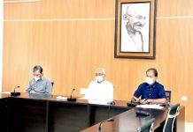 CM Bihar Nitish Kumar during review meeting on Saturday.