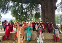 Ladies raising slogans during protest. -Excelsior/Tilak Raj