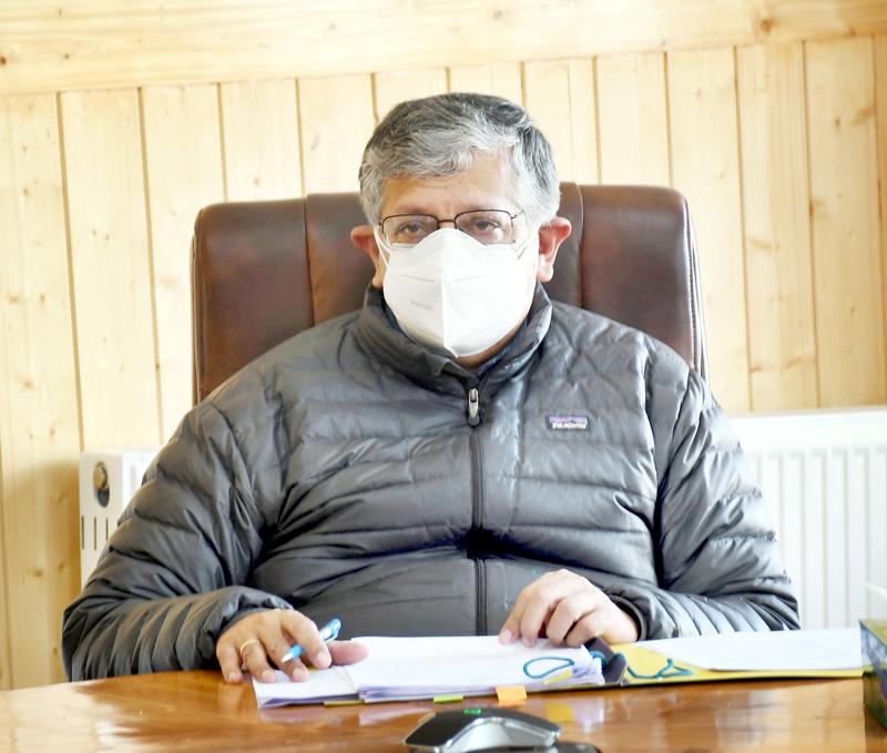 Advisor Ladakh, Umang Narula chairing governing body meeting of Implementing Society for Samagra Shiksha.