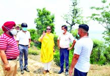Secretary Sports Council Nuzhat Gull along with DDC chairperson, Col Mahan Singh inspecting site for developing Water Sports Centre at Basohli on Thursday.