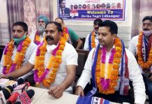 Apni Party district president addressing press conference at Udhampur on Monday.