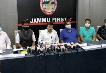 JCCI president Arun Gupta addressing press conference in Jammu on Monday. -Excelsior/Rakesh