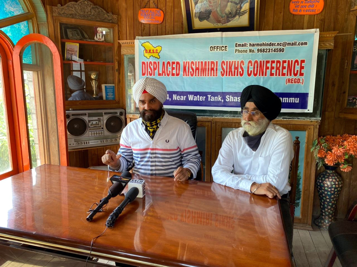 Representatives of Displaced Sikh Conference at a press conference at Jammu on Monday.