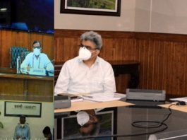 Union Home Secretary AK Bhalla reviewing COVID management in J&K with Chief Secretary Dr Arun Kumar Mehta on Monday.