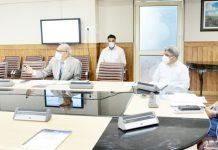 Chief Secretary Dr Arun Kumar Mehta chairing a meeting on Saturday.