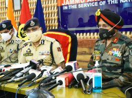 DGP Dilbag Singh addressing a press conference in Srinagar. —Excelsior/Shakeel