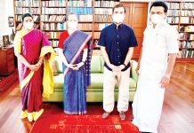 Tamil Nadu Chief Minister, M K Stalin with his wife Durgavathy Stalin calling on Congress President, Sonia Gandhi and Rahul Gandhi, in New Delhin on Friday. (UNI)
