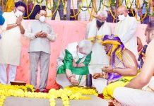 Lieutenant Governor Manoj Sinha performs 'Bhoomi Pujan' of Sri Venkateswara Swamy Temple at Majeen Sidhra in Jammu on Sunday in the presence of Union Ministers Dr Jitendra Singh and G Kishan Reddy.
