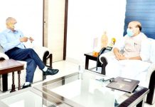 Lieutenant Governor of Ladakh R K Mathur in a meeting with Defence Minister Rajnath Singh in New Delhi on Sunday.