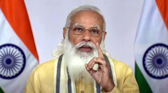 Prime Minister Narendra Modi during the televised address to the Nation in New Delhi on Monday. (UNI)