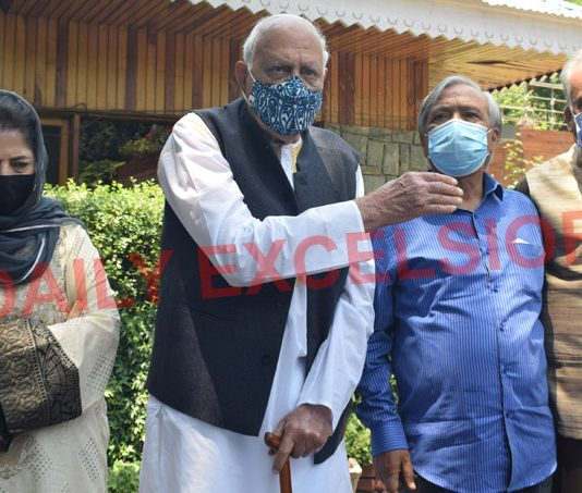 PAGD leaders addressing a press conference in Srinagar. -Excelsior/Shakeel